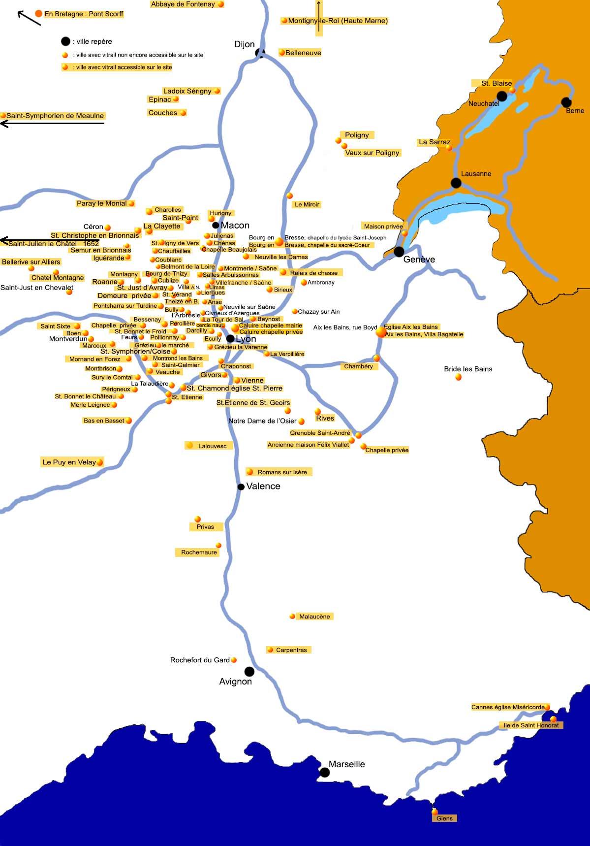 Localisation Des Vitraux De Lucien Begule Hors De Lyon